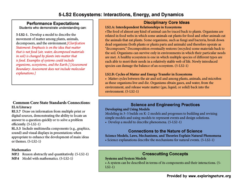 Grade 5 - 5-LS2 Ecosystems: Interactions, Energy, and Dynamics