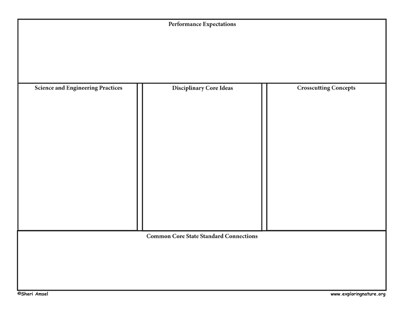 Template Graphic Organizer for New Generation of Science Standards (NGSS)