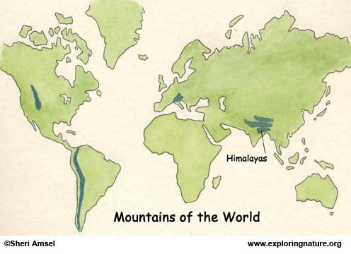 Himalayan Mountains World Map Himalayas