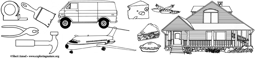 Tools, Vehicles, Food, Buildings Coloring Pages