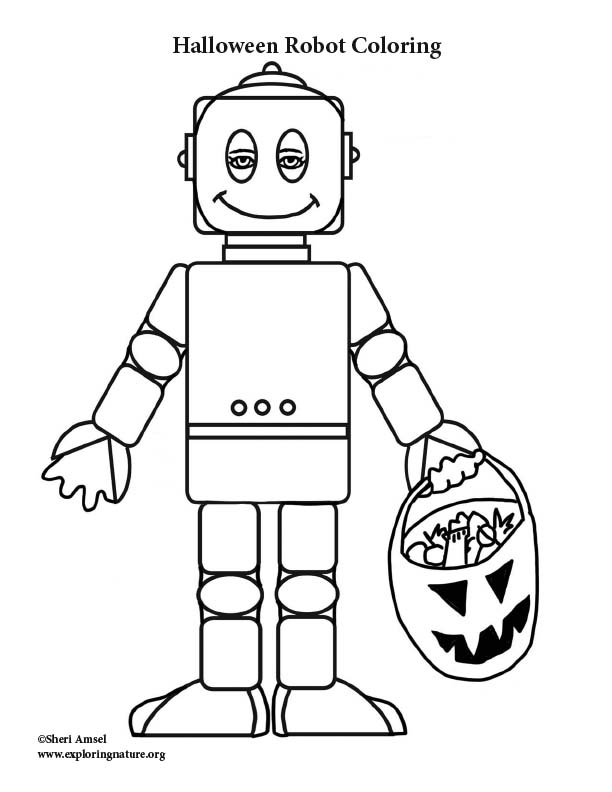 Halloween Robot Coloring Page