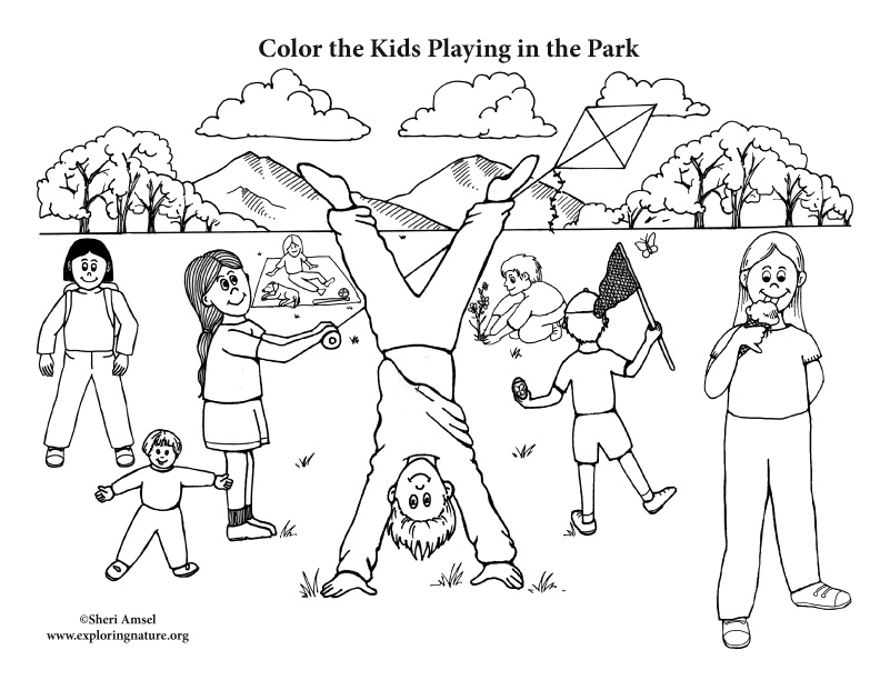 park coloring pages Kids Playing in the Park Coloring Page park coloring pages