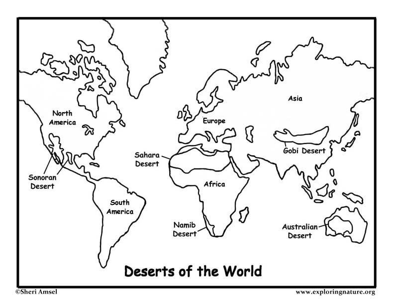 deserts of world map. Deserts of the World Coloring