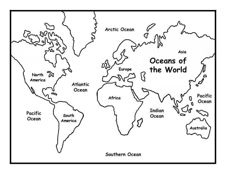 Oceans of the world coloring page for Maps coloring pages