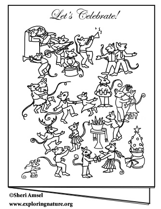 Mouse Dance Party Invite - Color Your Own