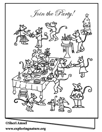 Mouse Dinner Party Invite - Color Your Own