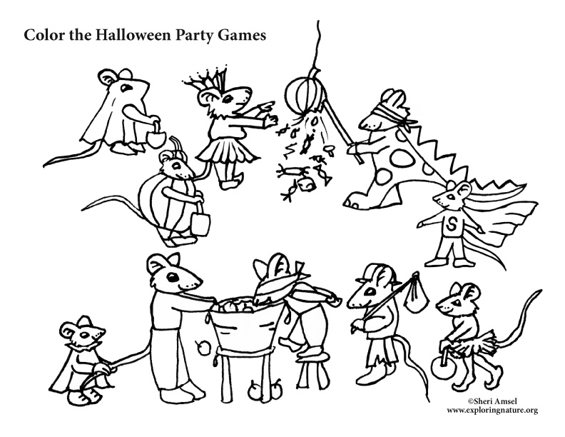 Mouse Halloween Party Games Coloring Pages