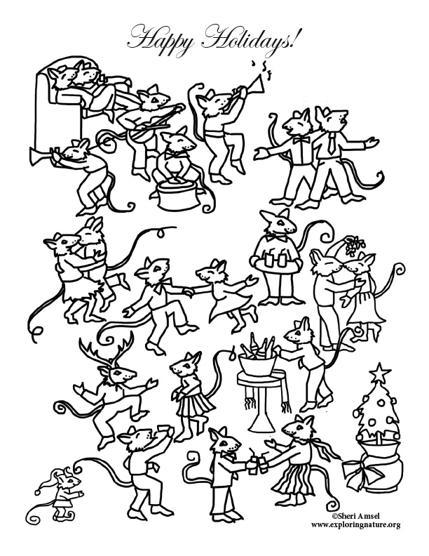 Mouse Holiday Party Dance Coloring Page