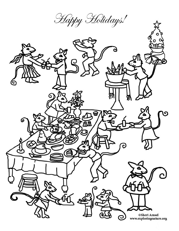 Mouse Party feast coloring