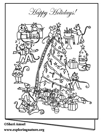 Mouse Holiday Gifts Card - Coloring Your Own
