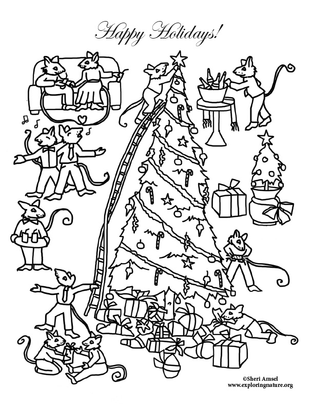 Mouse Holiday Tree and Gifts Coloring Page