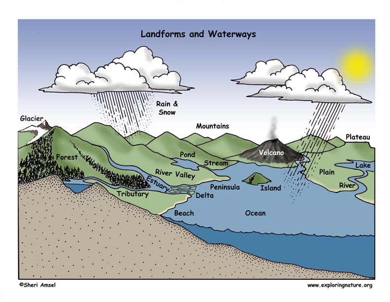 Landforms and Waterways Illustrated and Labeled