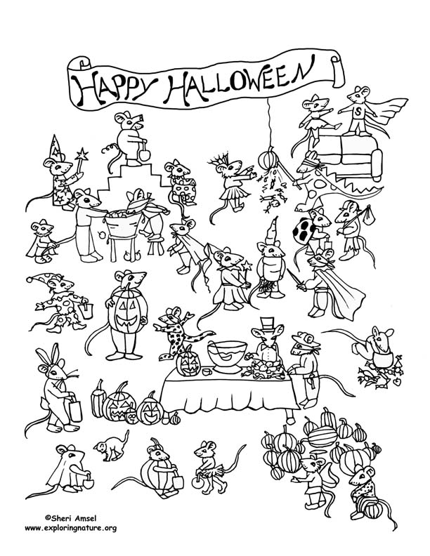 Mouse Halloween Party! Coloring Page