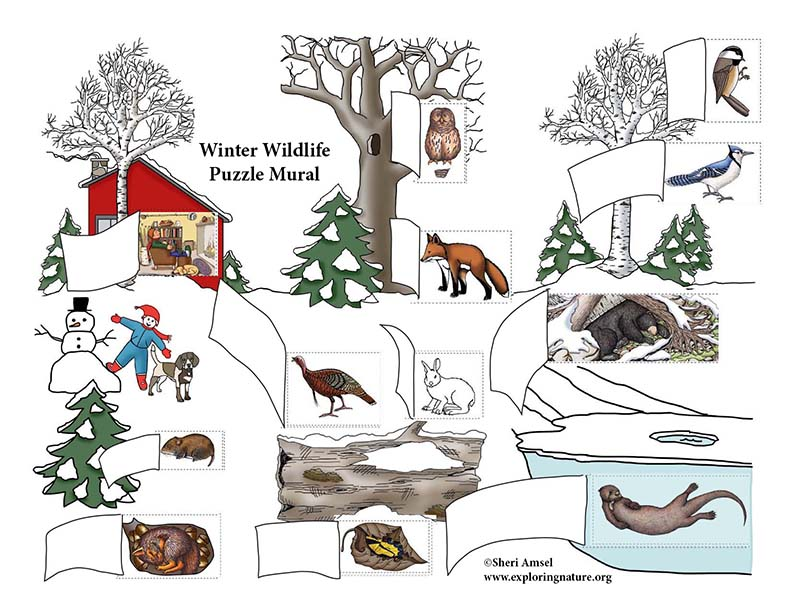 Winter Wildlife Puzzle Mural