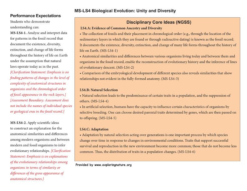 Grade 6-8 - MS-LS4 Biological Evolution: Unity and Diversity