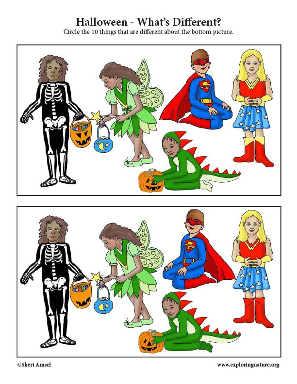 Halloween Costumes - What's Different Activity