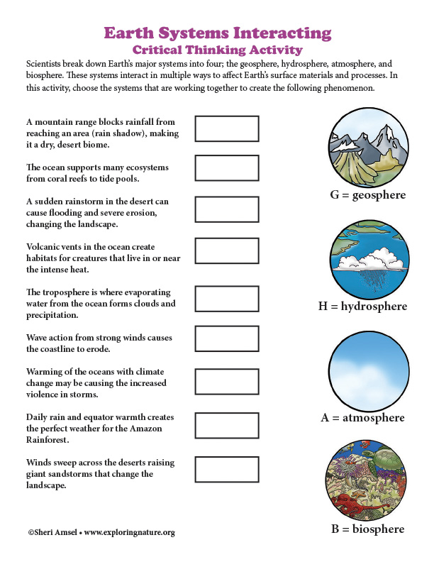 Earth Systems Interacting  - Critical Thinking Activity