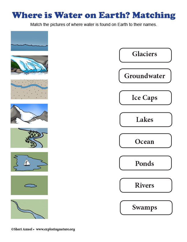 Where is Water on Earth? Matching - Grade 2
