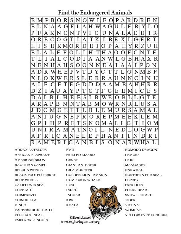 graphic relating to Animals Word Search Printable named Endangered Animal Phrase Glance (Grown ups)