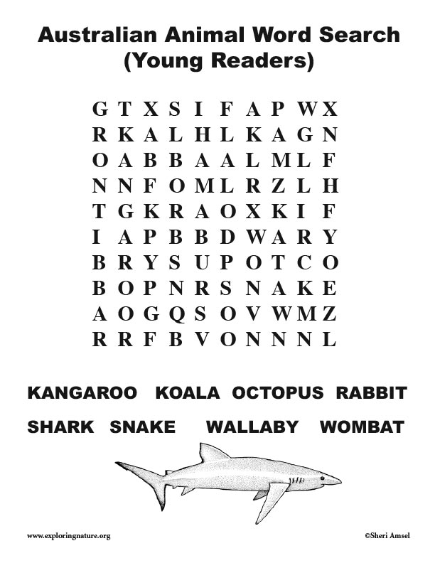 Australian Animal Word Search (Young Readers)