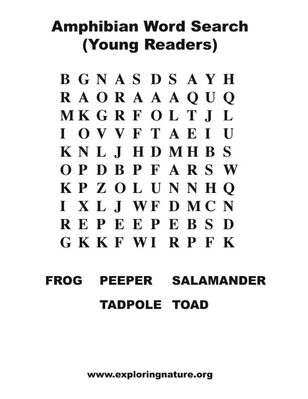 Word Search Game: Amphibians - Ducksters