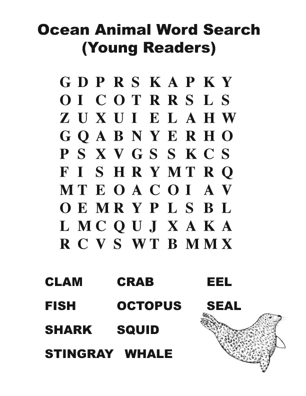 Ocean Animal Word Search (Young Readers)