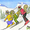 Happy New Year -  Squirrels Skiing
